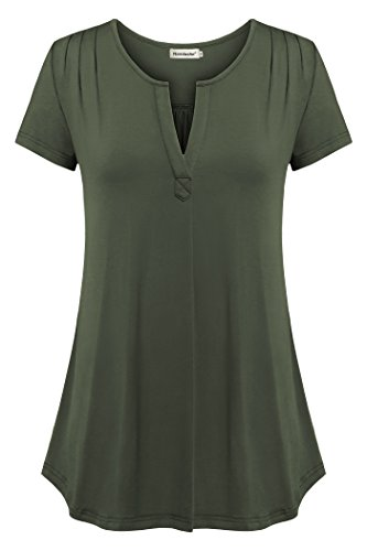 Nandashe V Neck Blouse, Lady Deep V Neck Trendy Casual Loose Soft Flowing Tunic Shirts for Leggings Capris Workout Activewear Army Green Medium by Nandashe
