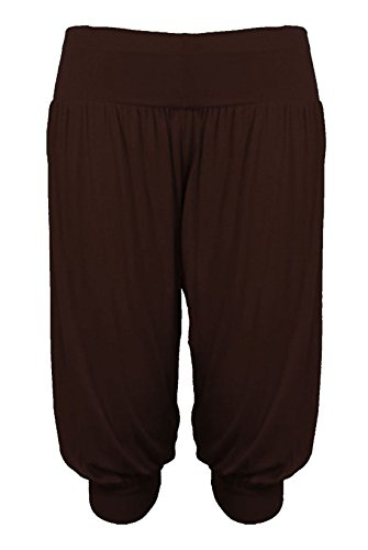 Rimi Hanger Ladies 3/4 Ali Baba Harem Baggy Pants Womens Fancy Cropped Legging Trouser Chocolate Brown X Large