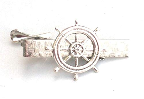 Glazed Black Cherry Steampunk SHIPS WHEEL Nautical Mens Tie Bar Clip pin AS
