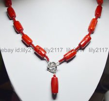 Tibet Silver Coral Bead - Tibet silver Love Clasp 12x20mm Natural Red Cylinder Coral Bead Pendant Necklace