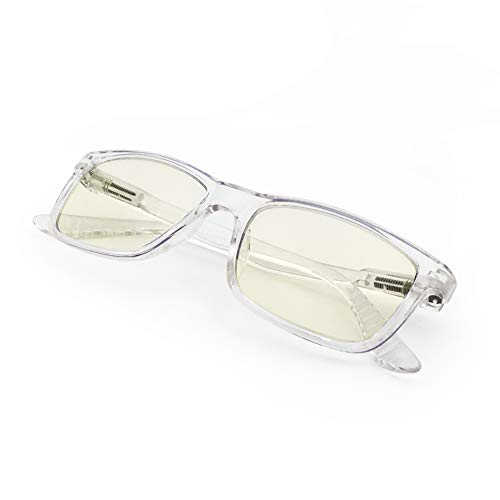 Blue Color Frame - J+S Vision Blue Light Shield Computer Reading/Gaming Glasses - 0.0 Magnification - Anti Blue Light 100% UV Protection - Low Color Distortion Lens, Classic Rectangle Clear Frame