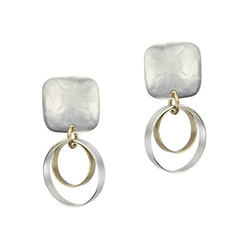 Earrings Square Rounded - Marjorie Baer Small Rounded Square with Tiered Rims Clip Earring in Brass and Silver