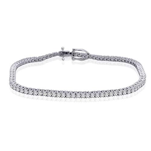 - 3.00 Ct Round Cut Natural Diamond 925 Sterling Silver Tennis Bracelet 7.5