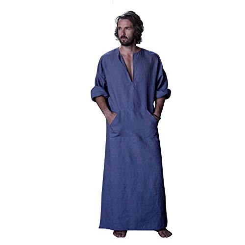 7 VEILS Men's Linen Robe Casual Kaftan Cotton Thobe V Neck Long Gown Side with Pockets Caftan-Greyish Blue-XL