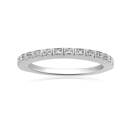 - Jewelili Sterling Silver Round White Diamond Accent Ring, Size 7