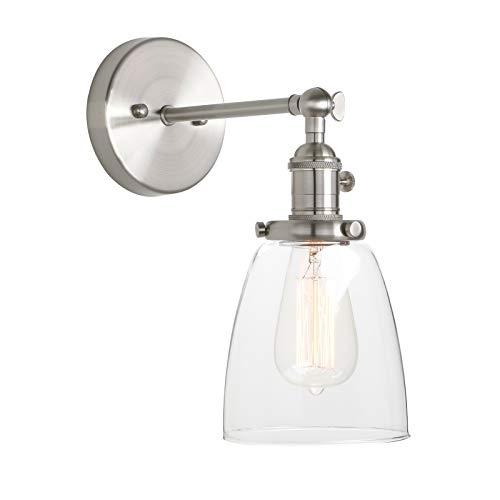 Pathson Vintage Wall Sconce with On Off Switch, Clear Glass Shade Industrial Vanity Light, Indoor Wall Lighting Fixtures for Bathroom Bedside Garage Porch Cafe ()