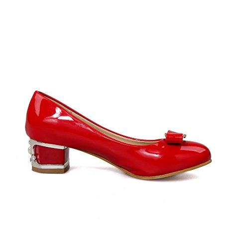 VogueZone009 Damen Niedriger Absatz Lackleder Ziehen auf Rund Zehe Pumps Schuhe Rot