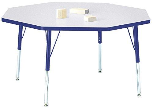 Berries 6428JCE003 Octagon Activity Table, E-Height, 48'' x 48'', Gray/Blue/Blue