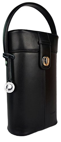 Deluxe Wine Box Set (Deluxe Real Leather Wine Carrier Set - Includes Bottle Opener, Dust Bag & Gift Box - Double Wine Bottle Holder - Luxury Genuine Leather Wine Carrier - Wine Bag -)