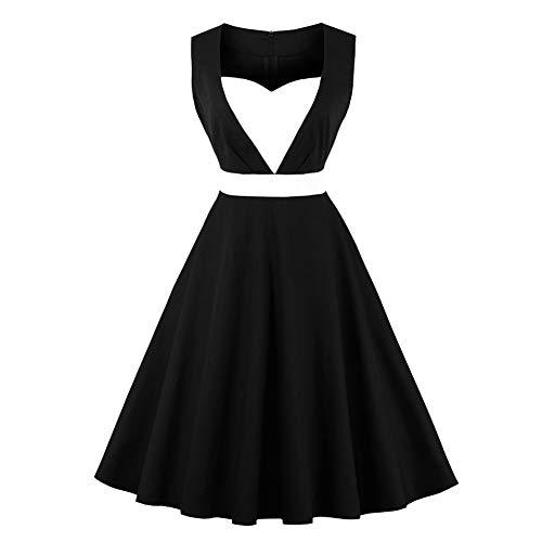 (Women Vintage Dresses Heart V-Neck Sleeveless Rockabilly Cocktail Party Swing Retro Pleated Dress(4XL-B5))