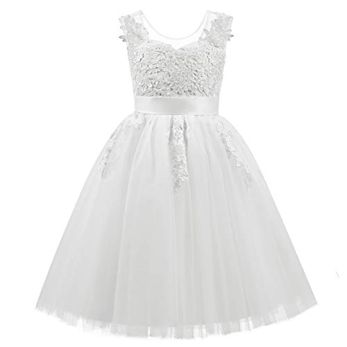 AbaoSisters Lace Applique Tulle Sheer Neckline Flower Girl Junior Bridesmaid Dress White Size 6