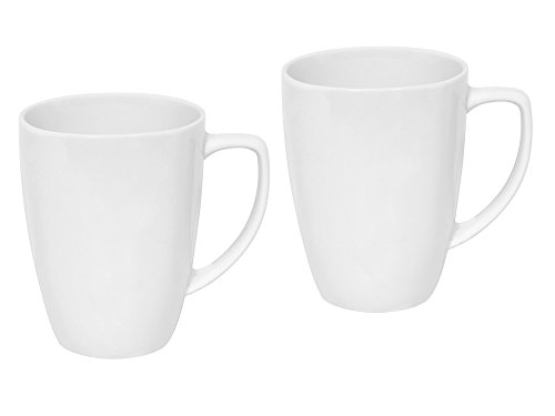 Set of 2 Corelle Square 12-Ounce Pure White Mug bundled by Maven - Square Mug Oz 12 Corelle