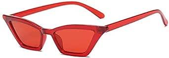 نظارات شمسية نسائية بإطار صغير عين القطة نظارات شمسية شارع - أحمر