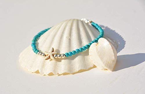 Anklet Bracelet for Women, Turquoise & Sterling Silver Unique Beach Beaded Foot Jewelry, with Starfish, Boho Hippie Style, Handmade