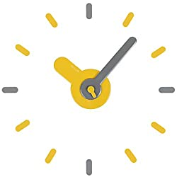 Lily's Home Large DIY Wall Clock Kit, Modern 3D Wall Clock for Home or Office. 22 Inch Diameter. (Yellow/Gray)