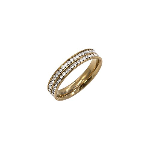 Two Row Eternity Stainless Steel Wedding Band 4MM Engagement ring size 5 to 10 (Gold, 7) (Two Row Stainless Steel Ring)