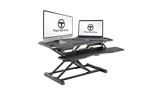 TechOrbits Rise-X Pro Standing Desk Workstation - Stand Up Desk Riser Monitor Mount Compatible - Home & Office Height Adjustable Desk - Sit to Stand Workstation - 37