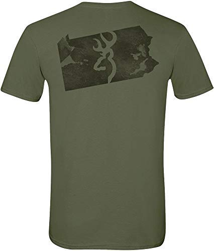 Browning Men's Buckmark PA Short Sleeve T-Shirt (Military Green, Large) (Browning Online Store)