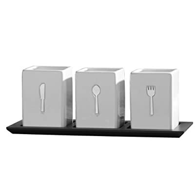 Towle Living 3-Piece Ceramic Caddy with Wood Tray