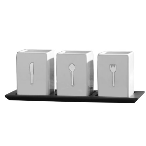 Countertop Silverware Organizer - Towle Living 3-Piece Ceramic Caddy with Wood Tray