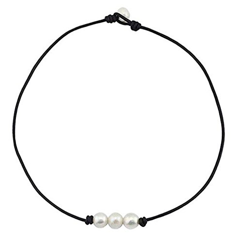 (Aphaca Freshwater Pearl Choker Leather Necklace for Women Girl Rope Necklace Jewelry Handmade (16'' 3 Pearl))