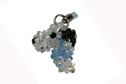 Swarovski Crystal Cell Phone Charm - Snoopy - Blue (Swarovski Phone Charm)