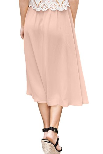 For G and PL Womens Elastic Waist Chiffon Solid Color Swing Flowy Flared Loose Casual Midi Skirt Pink XL by For G and PL (Image #4)