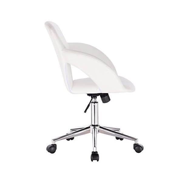 WOLTU BS18ws Chaise de Bureau pivotante et réglable,Fauteuil de Bureau Design Ergonomique en Similicuir,Blanc