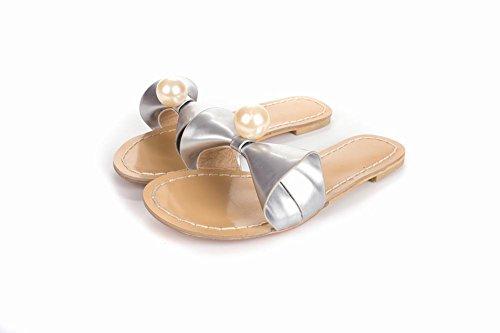 Latasa Womens Summer Cute Bow Flat Slides Slippers Silver MJEkWcsod