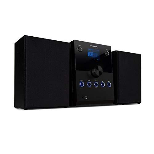 auna MC-30 DAB microstereosysteem – 2,4-inch kleurendisplay, 2-weg luidsprekerset, cd-speler, 20 watt max.DAB + tuner, FM PLL, Bluetooth, AUX, afstandsbediening, zwart