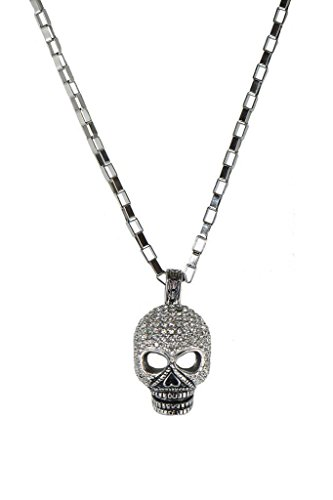 Leather Skull Pendant (Forziani Big Skull CZ Pendant Necklace for Men with Chain, 316L Stainless Steel, Luxury Gift Box and Leather Pouch - Gift for Him)