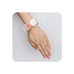Silk Flower Arrangements 8Pcs/Lot Crystal Corsage Bracelet Satin Flowers Wrist Corsage Bridal Hand Flower Brooch Wedding Accessories Wrist Band,Color