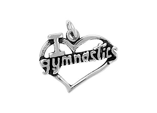 Raposa Elegance Sterling Silver I Love Gymnastics Charm (approximately 14.5 mm x 18.5 mm) ()