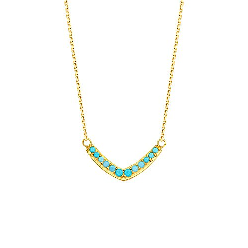 14k Yellow Gold Adjustable Nano Simulated Turquoise V Necklace - 18 Inch