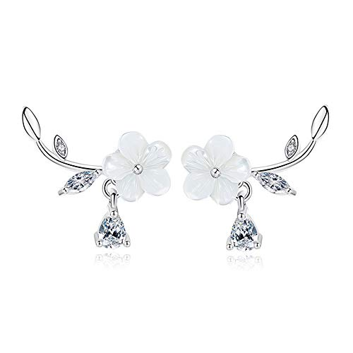 - OREOLLE 18k White Gold Plated Plum Flower Earrings - Post Ear Crawler - Cuff Earrings Simulated Diamond Leaf Stud Ear Climber Jackets