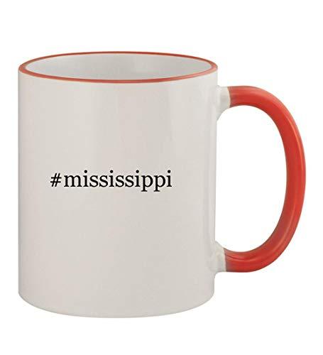 (#mississippi - 11oz Hashtag Colored Rim & Handle Sturdy Ceramic Coffee Cup Mug, Red)