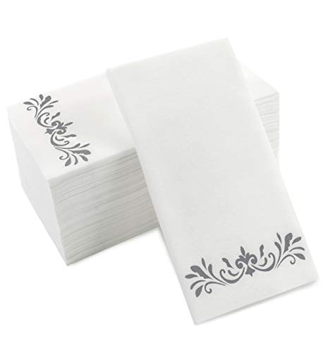 Silver Napkins for Wedding Reception, Guest Towels Disposable, Decorative Hand Towel, Linen Feel Disposable Hand Towels for Guest Bathroom & More - White with Silver, 100 Pack, 8.25 x 4 Inches - Guest Towels 100 Napkins