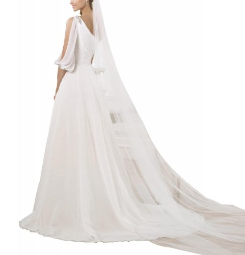 Oberteil geraffte Ein BRIDE GEORGE Brautkleider Hochzeitskleider Schulter Ballkleid Hochzeitskleid Elfenbein Chiffon CnqpH