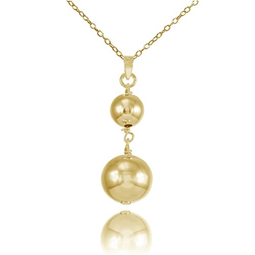 Gold Graduated Bead (Yellow Gold Flashed Sterling Silver Graduated Double Ball Bead Drop Necklace)