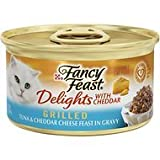 Fancy Feast Delights with Cheddar Grilled Tuna & Cheddar Cheese Feast in Gravy Cat Food, 3 oz, 12 Cans