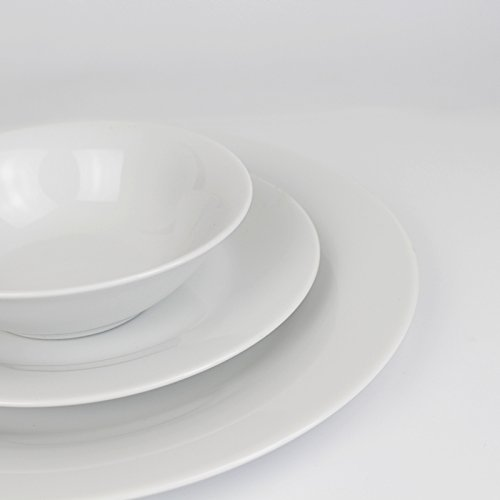 Winnsoma Elegante 18-Piece White Porcelain Dinnerware Set, Service For 6. Complete Set With 6 Dinner Plates, 6 Side Plates And 6 Small Bowls by Winnsoma (Image #2)