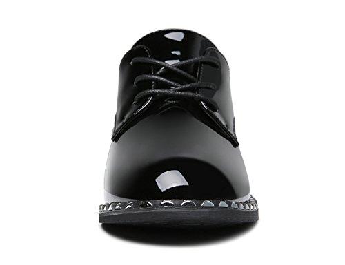 Scarpe Stringate Da Donna In Mocassino Scarpe In Vernice Perle Allacciate Con Punta Quadrata Nera