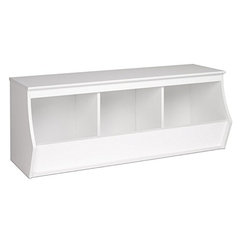 Prepac Monterey Stackable 3-Bin Storage Cubby, White (Stackable Benches)