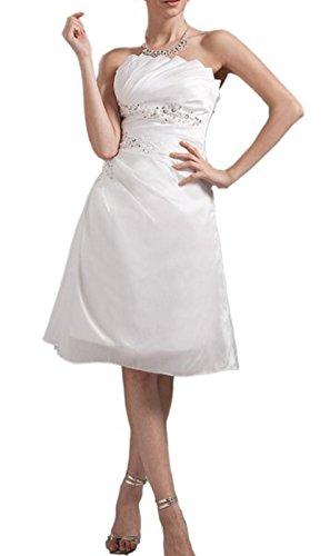 *maillsa satin strapless short wedding dress with beadings NT361