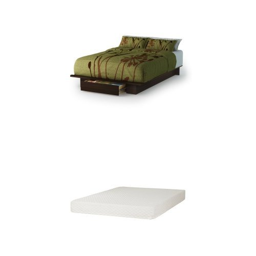 - South Shore Holland Full/Queen Platform Bed (54/60'') with drawer, Mocha, and Somea Queen Mattress included
