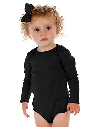 (Kavio! Unisex Infants Lap Shoulder Long Sleeve Onesie Black 12M)