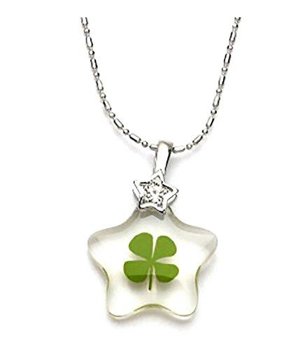 (Genuine Four-leaf Lucky Clover Shamrock Crystal Amber Pendant Necklace, Lucky Star !)