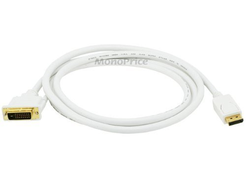 Monoprice 6ft 28AWG DisplayPort to DVI Cable - White (2 P...