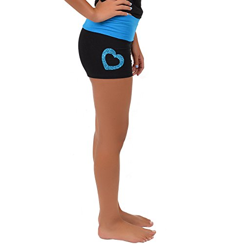 Stretch is Comfort Women's Vinyl Heart Dance Foldover Yoga Shorts Black X-Large