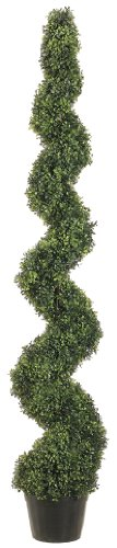 Silk Decor 6-Feet Pond Boxwood Spiral Topiary Plant, Green by Silk Decor